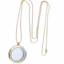JETTING 1 Piece Hot Selling Women Fashion Style Float Locket Necklace Glass Memory Locket Pendant Chain Necklace