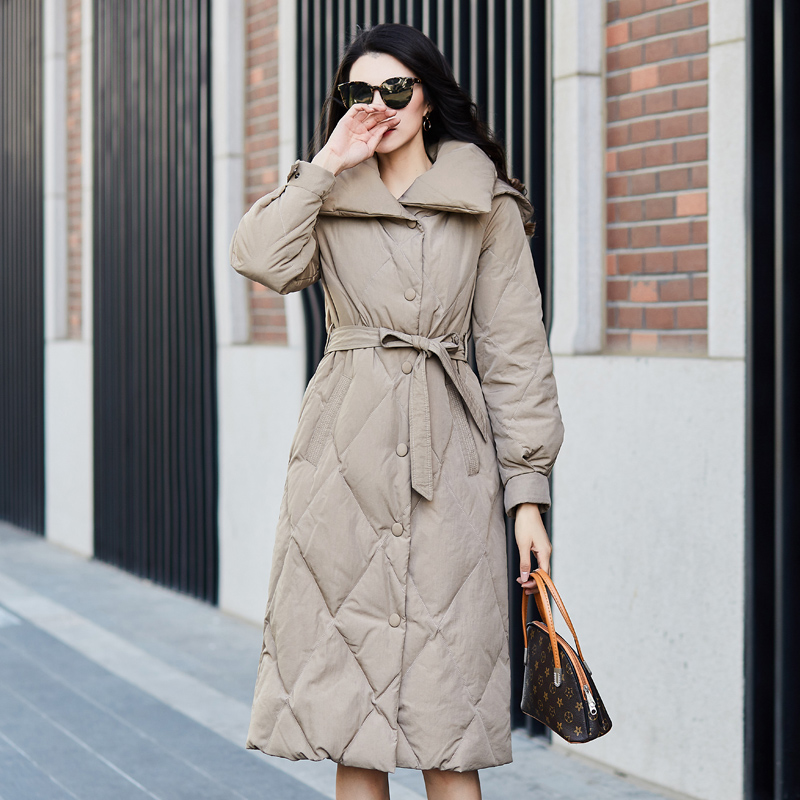 High Quality Brand Women Winter Jacket 2019 New Design Hooded Long   Down     Coat   Female Straight Loose Thick Warm Khaki   Down   Parka