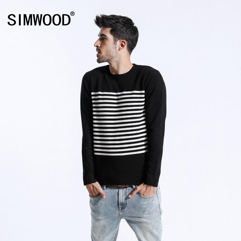 SIMWOOD 2018 осень зима свитер для мужчин Slim Fit повседневное полосатый пуловеры для женщин Мода плюс размеры вязаный шерстяной одежда 180463