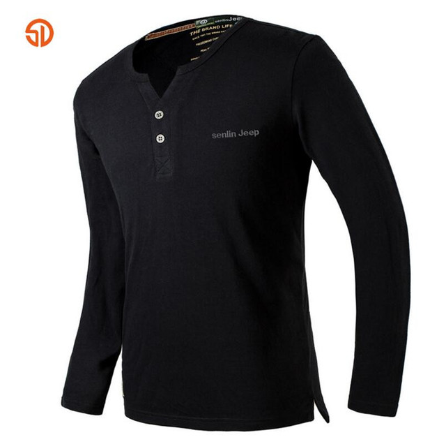 SD Autumn Outdoor Hiking Cotton T-shirt Men Long Sleeve High Quality Brand V-neck Tees Mens Clothing Camping Breathable Shirts