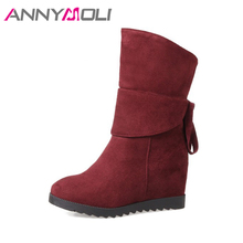 ANNYMOLI Winter Shoes Women Mid-Calf Boots Platform Wedges Boots Increasing Heel Boots Autumn Bow Handmade Footwear Red Black