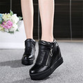 New Black Silver High-Top Boots Women Height Increasing Blink Platform Casual Shoes PU leather Fashion Sapato Feminino