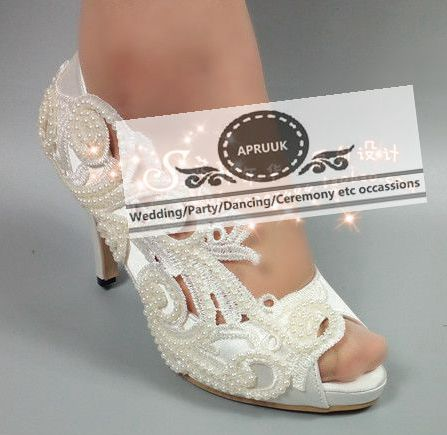 Peep toes summer wedding shoes bride HS319 white lace pearls luxury handmade plus sizes 34-43 female women's bridal wedding pump extra large plus sizes 41 42 43 flats wedding lace shoes womens female woman bridal flat heel wedding flats shoes large sizes