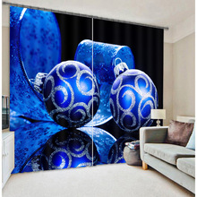 Blue Color Jewelry Luxury 3D Window Blackout Curtains For Living room Bedding room Hotel/Office Home Wall Christmas Decorative