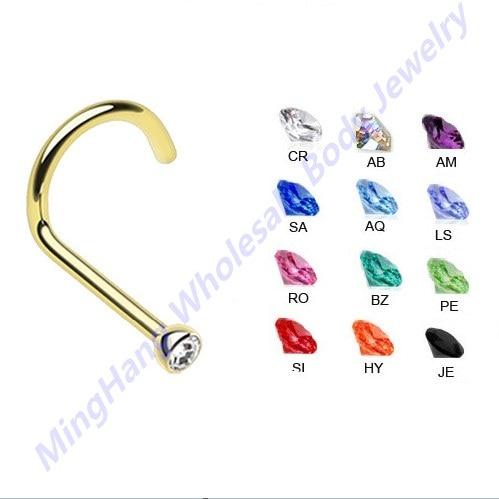 0 8 6 5 2mm 316L Surgical Steel CZ Gem Beze Set Gold Color Nose Screw Ring Stud   60pcs kot Mixeds