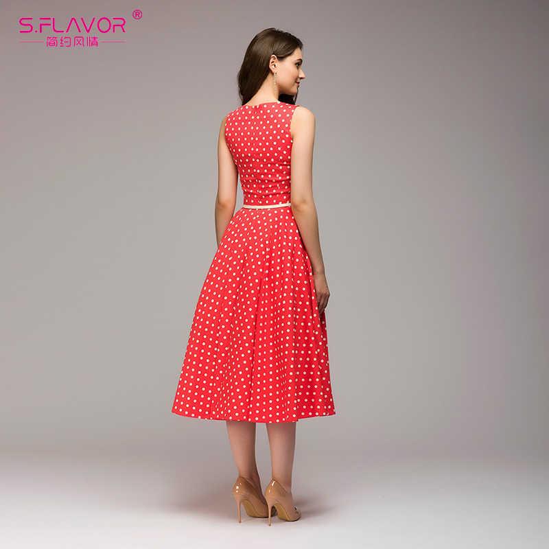 Женское платье в горошек S.FLAVOR, облегающее платье-трапеция в стиле ретро 3 цветов с круглым вырезом без рукавов и пояса, лето 2018