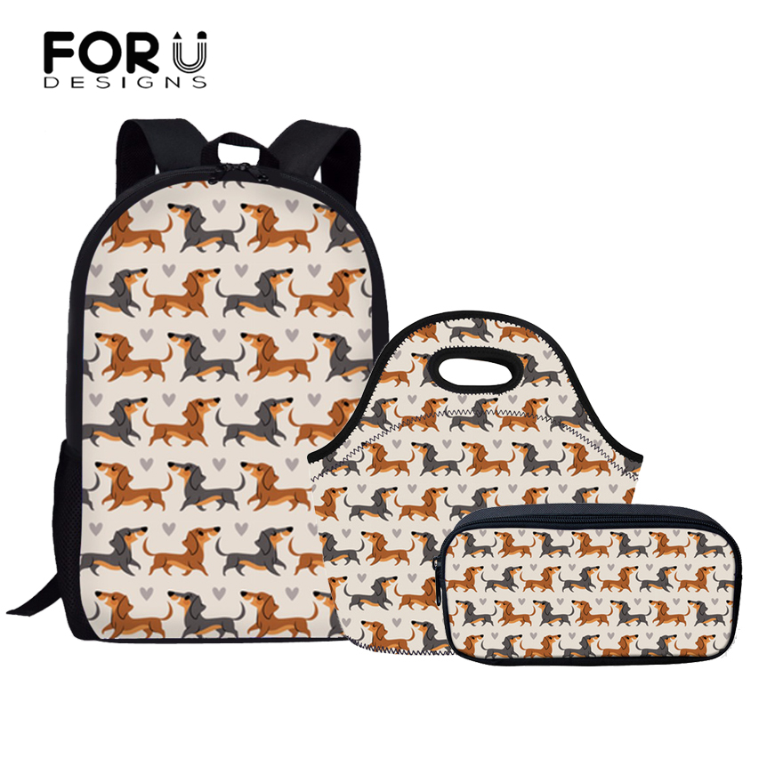 FORUDESIGNS 3Pcs/set Children School Bags for Teenager Doxie Dog Printing Schoolbag Kids Cute Shoulder Backpack Large Book Bag ...