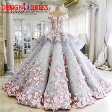 vestidos de novia 2017 Luxury Ball Gown Wedding Dresses Princess Sweetheart Pink Hnadmade Made Flowers Court Train Bridal Gowns