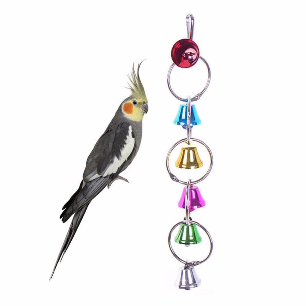 Pet Products Pet Bird Bell Toys Chew Parrot Ring Hanging Swing Cage Cockatiel Parakeet Toy 3 Sizes Bird Supplies