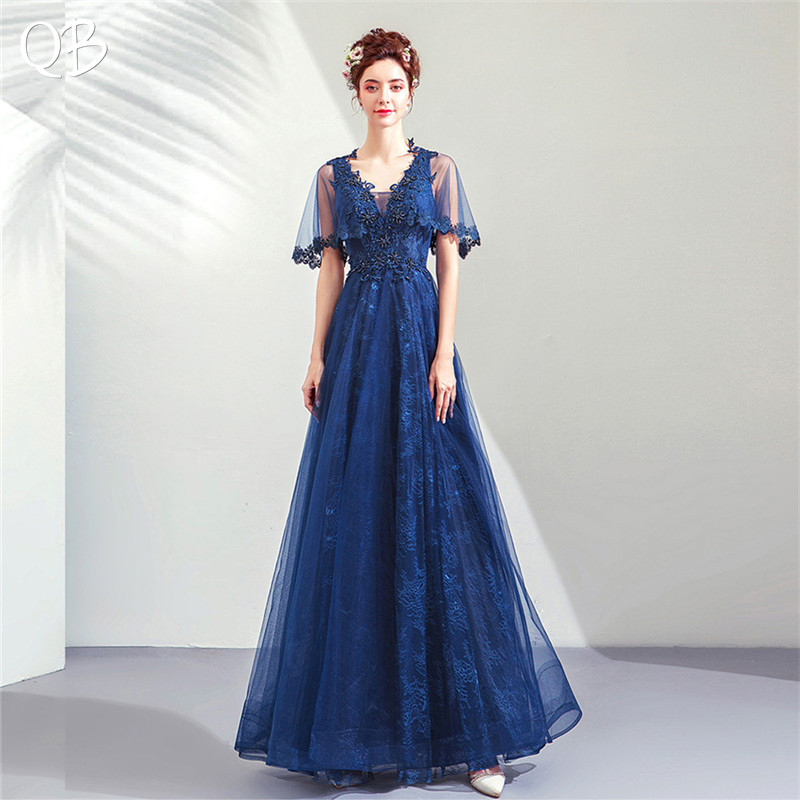 Navy Blue A-line V-neck Tulle Lace Beading Luxury Formal   Evening     Dresses   2019 New Fashion Bride Party Prom   Dress   XK211