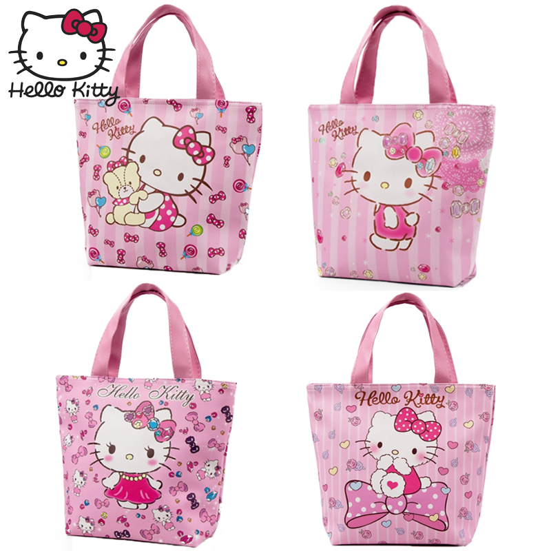 Hello Kitty Cartoon Bag Plush Wallet Handmade Cartoon Lovely Girls Shopping HandBag Nylon Portable School Travel