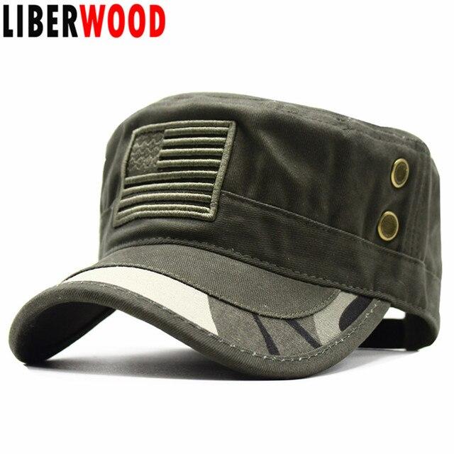 5b7d97b9c Aliexpress.com : Buy LIBERWOOD New Embroidery USA flag hat army baseball  caps U.S. America flag Camo hat cap Vintage flat top Men Operator hats from  ...