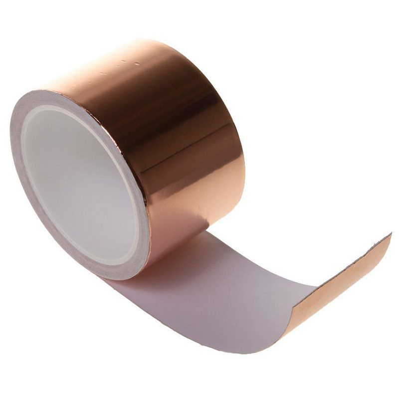 SALES 5xSingle Conductive Self Adhesive EMI Copper Foil Shielding Tape Guitar Slug and Snail Barrier - 6CM*10M Rose gold 10m super strong waterproof self adhesive double sided foam tape for car trim scotch