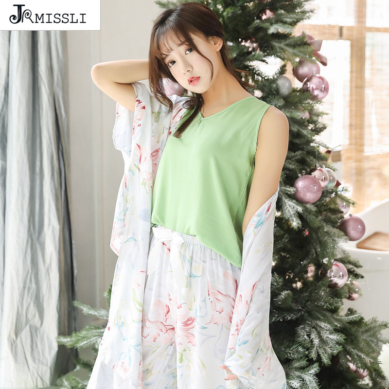 JRMISSLI New Spring Flower Print   Pajamas     Sets   Women Home Comfortable Nightshirt 4 Piece   Sets   Cotton Girl Cute Bedroom Nightgown