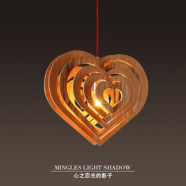 Modern Simple Love LED Pendant Lamp Nordic Round Wood Pendant Light Art Lamp Bed Room Cafe Lighting Decor hang light fixture