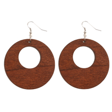 Ethnic Womens Wood Geometric Earrings Ear Studs Hook Wooden Drop Dangle Hollow Round Circle Gift