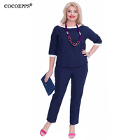COCOEPPS 2 Piece Set Women Tops Pants Big Size Summer Plus Size Office Work Ladies Clothing