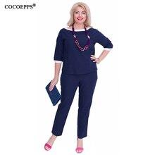 COCOEPPS 2 Piece Set Women Tops+Pants Big Size Summer Plus Size Office Work Ladies Clothing Set Big Size Patchwork Casual Suit