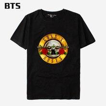 BTS GUNS N ROSE Hiphop Print Men Tee Shirt Shirt Mens Short Sleeve Cotton T-Shirt GUNS And Rose T Shirts Plus Size XXS To 4XL