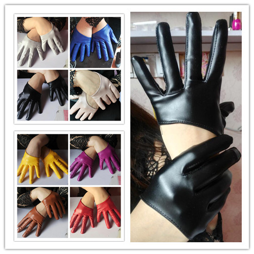 New Arrival Women Faux Pu Leather Full Finger Gloves Pu Leather Half Palm Gloves Sexy Motorcycle Gloves Lady's Driving Gloves