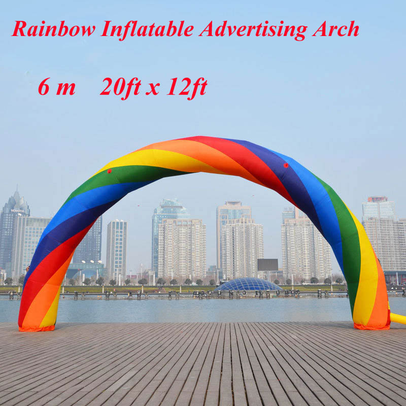 6m Inflatable Rainbow Arch 20ft*12ft Good Quality Rainbow Inflatable Balloon for Special Activities brand new discount 20ft 10ft d 6m 20ft inflatable red arch advertising come with 220v 370w blower fast free shipping