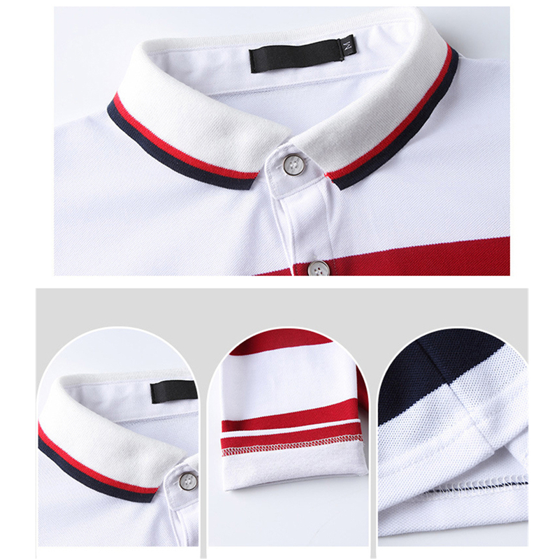 Image 5 - TFETTERS Autumn Casual Men T shirt White and Red Stripe Pattern Fitness Long Sleeve Turn down Collar Cotton Tops Stripe Clothes-in T-Shirts from Men's Clothing