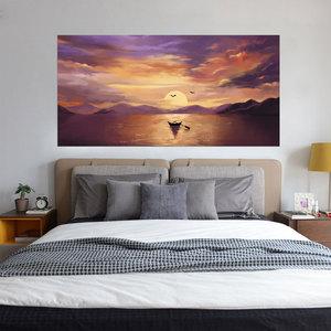 Image 5 - Setting Sun Beautiful Lake Scene Newest Fashion Wall Decal Wholesale Headboard Dorm Decor Bed Frame Vinyl Family Art Sticker