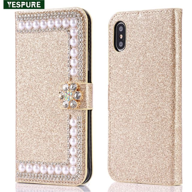 nice shoes 25085 a61c3 US $9.74 |YESPURE Gold Glitter Wallet Leather Phone Cover For Iphone X Card  Slot Rhinestone Flip Case Best Cell Phone Accessories-in Flip Cases from ...