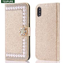 YESPURE Gold Glitter Wallet Leather Phone Cover For Iphone X Card Slot Rhineston