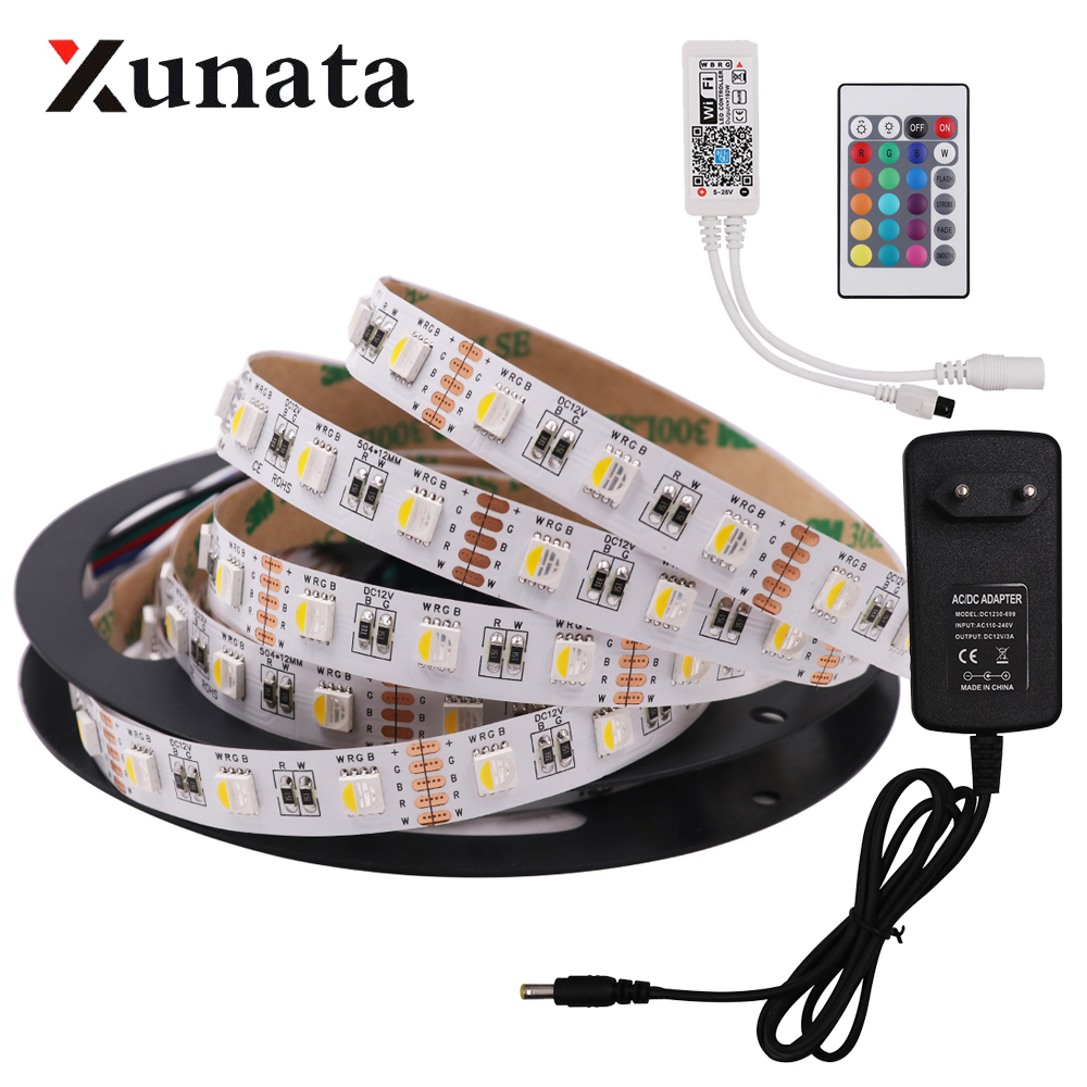 DC12V 5M 5050 RGB WIFI LED Strip Light Waterproof 60Led/m 4 In 1 Led RGBW RGBWW Led Strip Remote Controller Power Supply Kit