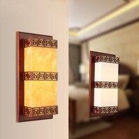 Rustikalen stil braun holz rahmen wand lampen Antike weiß/gelb pergament E27 LED lampe für schlafzimmer & veranda & treppen & pavilion XDBD006