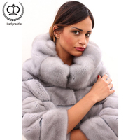 2019 Trendy New Nature Mink Fur Coats For Women Outerwear Overcoats Warm Hooded Real Fur Mink Jackets Capped Winter Tops MKW 240
