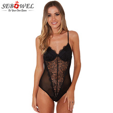 SEBOWEL 2019 Sexy Black Lace Mesh Bodysuit Women Sleeveless Transparent Slim Bodysuits Playsuit Leotard Jumpsuit Mujer Club Wear