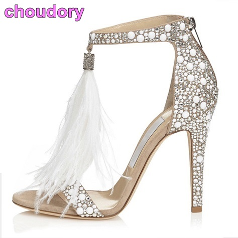71aeea82647 Bling Bling Silver Crystal Embellished Dress Sandals White Feather Fringe  Wedding High Heel Shoes Shining Rhinestone Sandal-in High Heels from Shoes  on ...