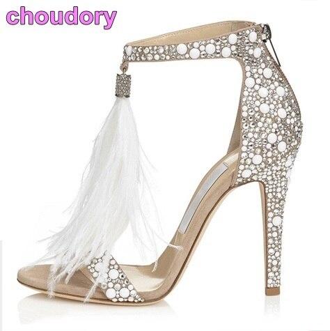 Bling Bling Silver Crystal Embellished Dress Sandals White Feather Fringe  Wedding High Heel Shoes Shining Rhinestone Sandal 50b13a655dc3