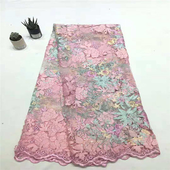 Latest French Lace Pink Sequin Chiffon Embroidery Net Lace Floral African Lace Fabric High Quality Nigerian Tulle Lace X1249-3