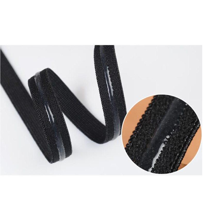 Quality 12mm black white Silicone Backed Gripper Elastic crafting & sewing webbing for bra lingerie prom dress girdle clothing