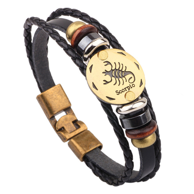 US $1 72 |Constellation Men Leather Bracelet Male Female Scorpio style  Wristband Charm Friendship Bracelets & Bangles For Women Whole sale-in  Chain &