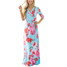 Summer New Women Beach Long Dresses Half Sleeve Floral Print Sashes Lady Casual Dress Vestidos 2XL Ankle-Length Blue Maxi Dress цена и фото