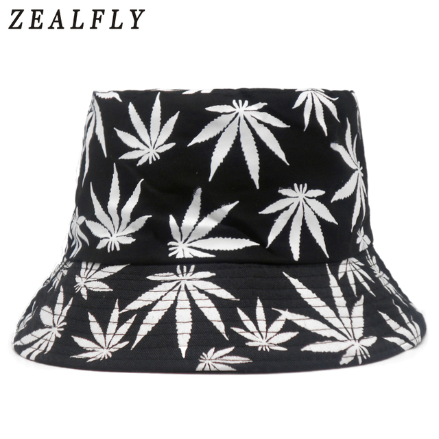 2018 New Fashion Hip Hop Green White Leaf Print Fishing Caps Weed Bucket  Hats For Mens 73f50cb76ef4
