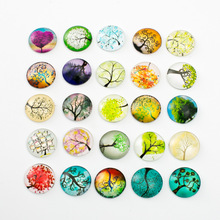 10pcs Mixed 18mm Round Tree Pattern Glass Patch Cover Cabochons Cameo Jewelry Findings