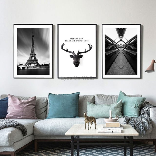 Abstract Eiffel Tower Posters Minimalist Art Canvas Painting Black White Cityscape Wall Pictures Print Modern Home Office Decor