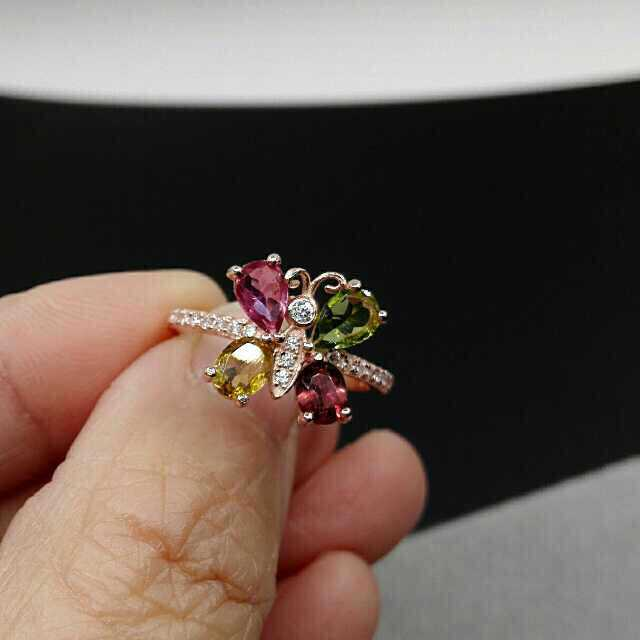 Natural multicolor tourmaline Natural gemstone ring 925 sterling silver trendy Elegant Lovely butterfly women party gift Jewelry