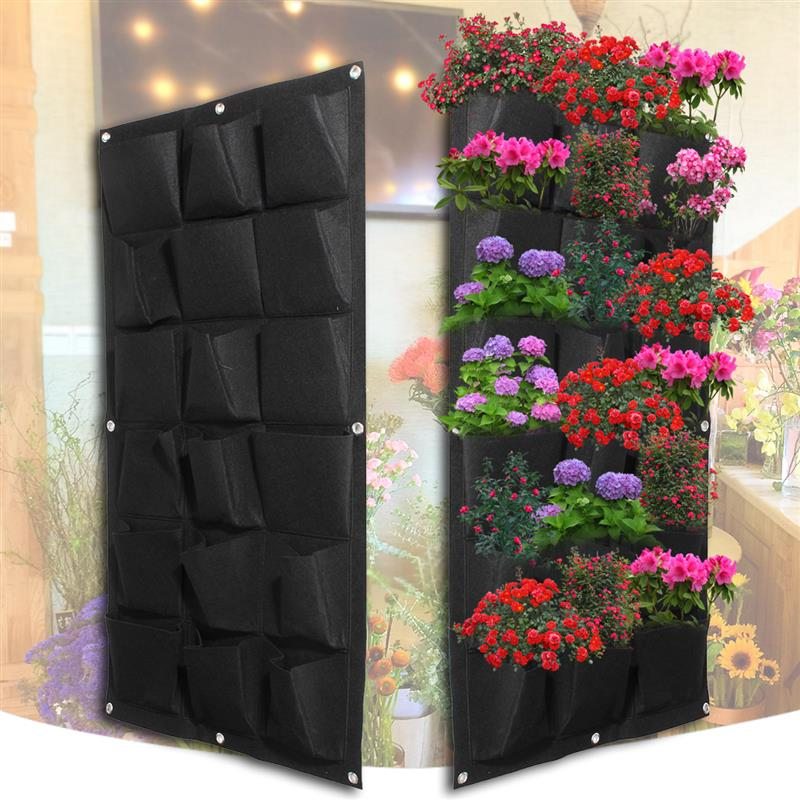 1*1M(Green)(Black) Promotion sale 72 Pocket Planting Bag Wall Vertical Greening Hanging Garden Outdoor Plant