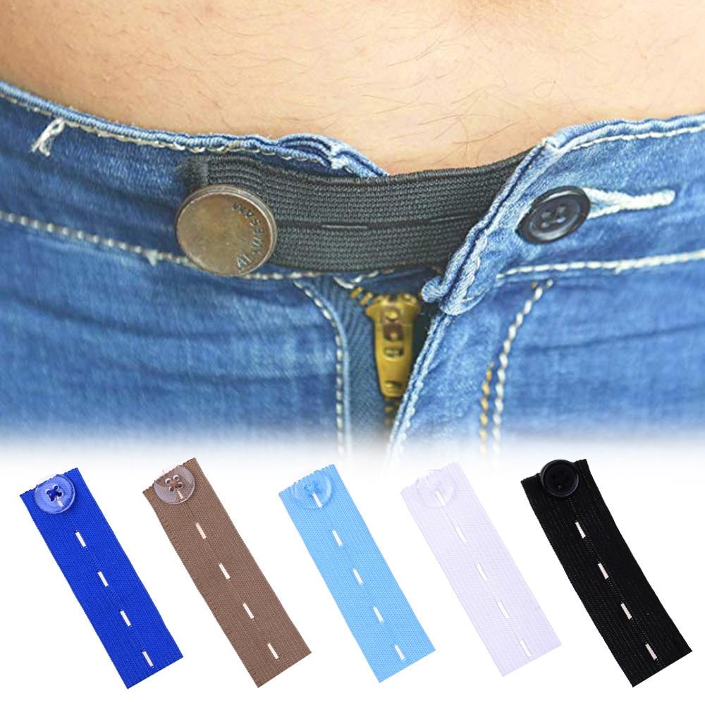 2x Unisex Waist Band Pant Extender Retractable PLAIN Button Trousers Jeans Skirt
