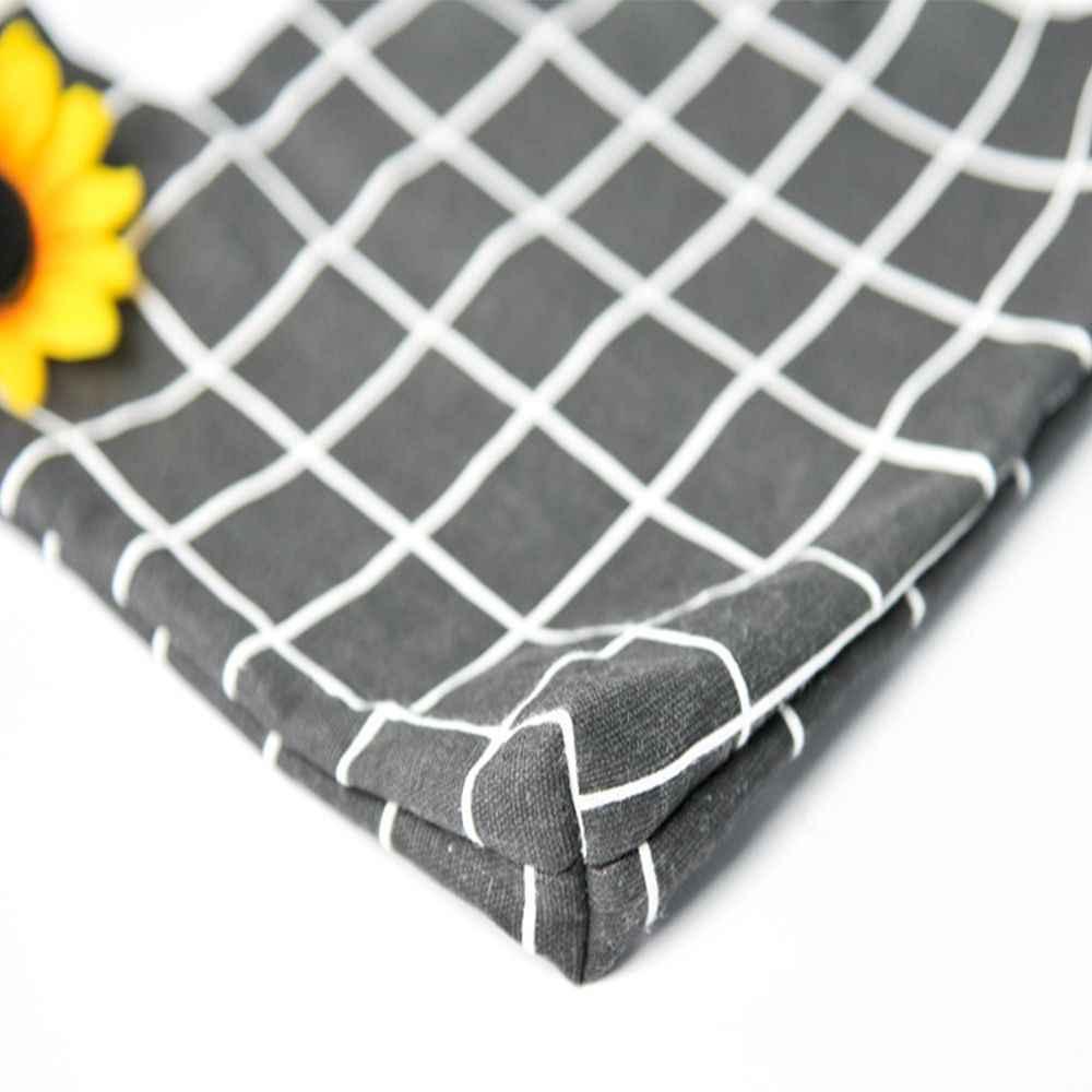 1 sztuk japoński styl przenośny bawełniana torebka krata wzór saszetka moda bawełniana pościel torba na drobiazgi rozmiar: 21*17 cm