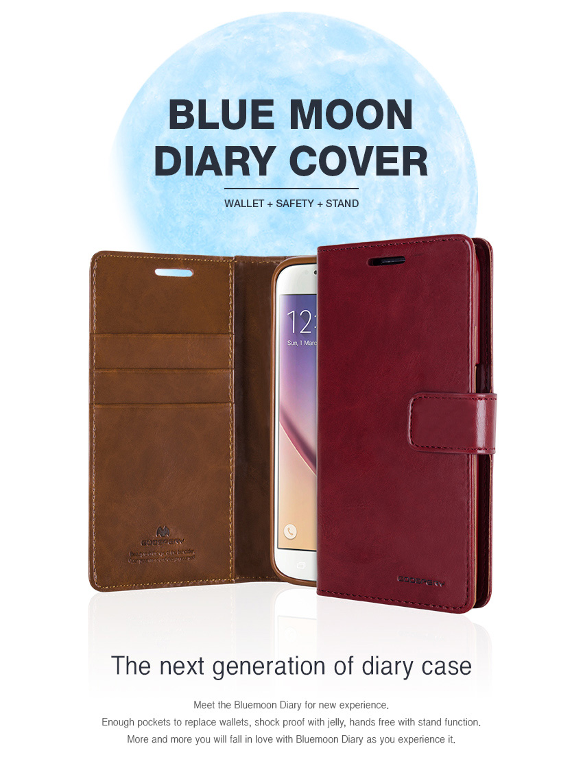Original Mercury Goospery Blue Moon Diary Flip Wallet Case Cover For Iphone X Mint Bluemoon S6 Detail Eng 5