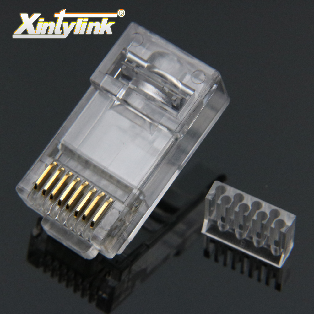 xintylink 50pcs rj45 connector rj45 plug cat6 ethernet network connector 8p8c modular terminals utp gold plated high quality