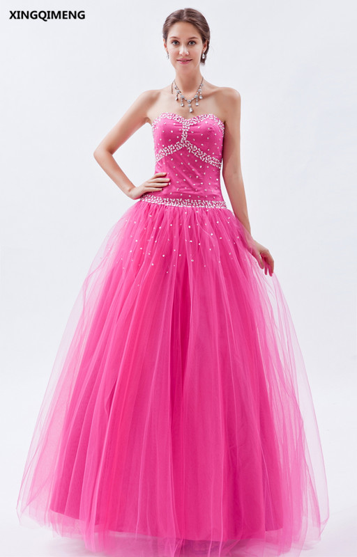 Sequined Hot Pink Quinceanera Dresses Elegant vestidos de 15 anos Cheap Sweet 16 Dresses Formal Party Dresses Beaded Ball Gown