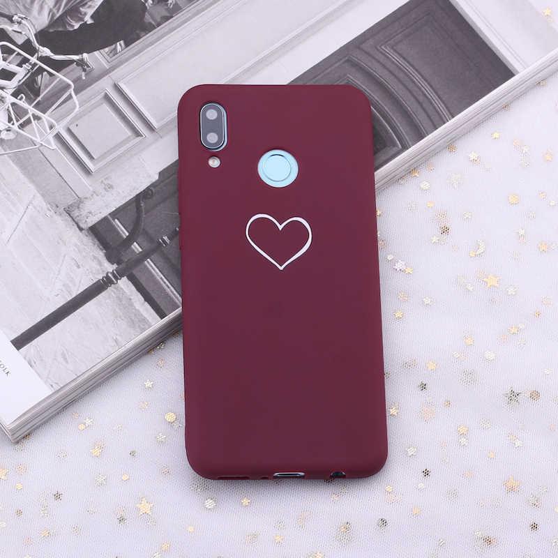 لهواوي الشرف ماتي 10 20 نوفا P20 P30 P الذكية بورجوندي القلب الورود الدموع الحلوى سيليكون غطاء إطار هاتف محمول كابا Fundas كوكه